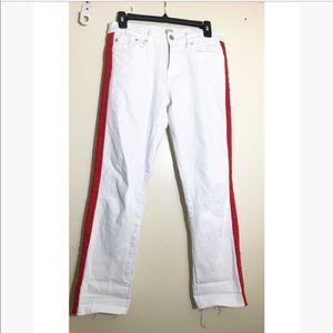 Zara • white red strip pants